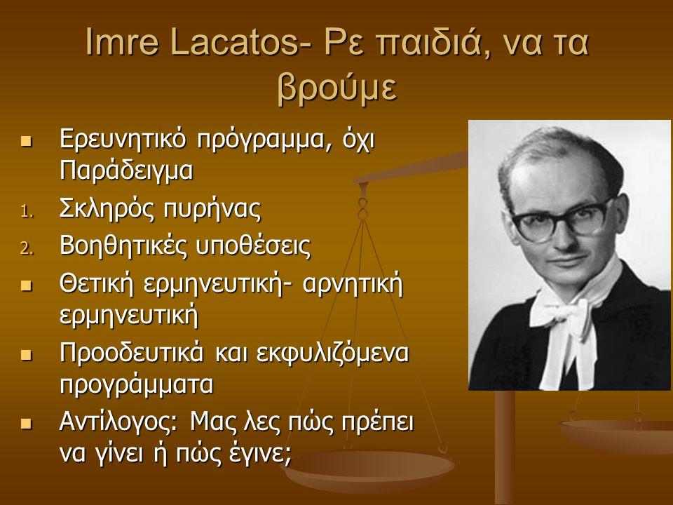 Imre Lacatos- Ρε παιδιά, να τα βρούμε Ερευνητικό πρόγραμμα, όχι Παράδειγμα Ερευνητικό πρόγραμμα, όχι Παράδειγμα 1. Σκληρός πυρήνας 2. Βοηθητικές υποθέ