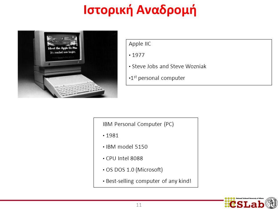 11 Ιστορική Αναδρομή Apple IIC 1977 Steve Jobs and Steve Wozniak 1 st personal computer IBM Personal Computer (PC) 1981 IBM model 5150 CPU Intel 8088 OS DOS 1.0 (Microsoft) Best-selling computer of any kind!