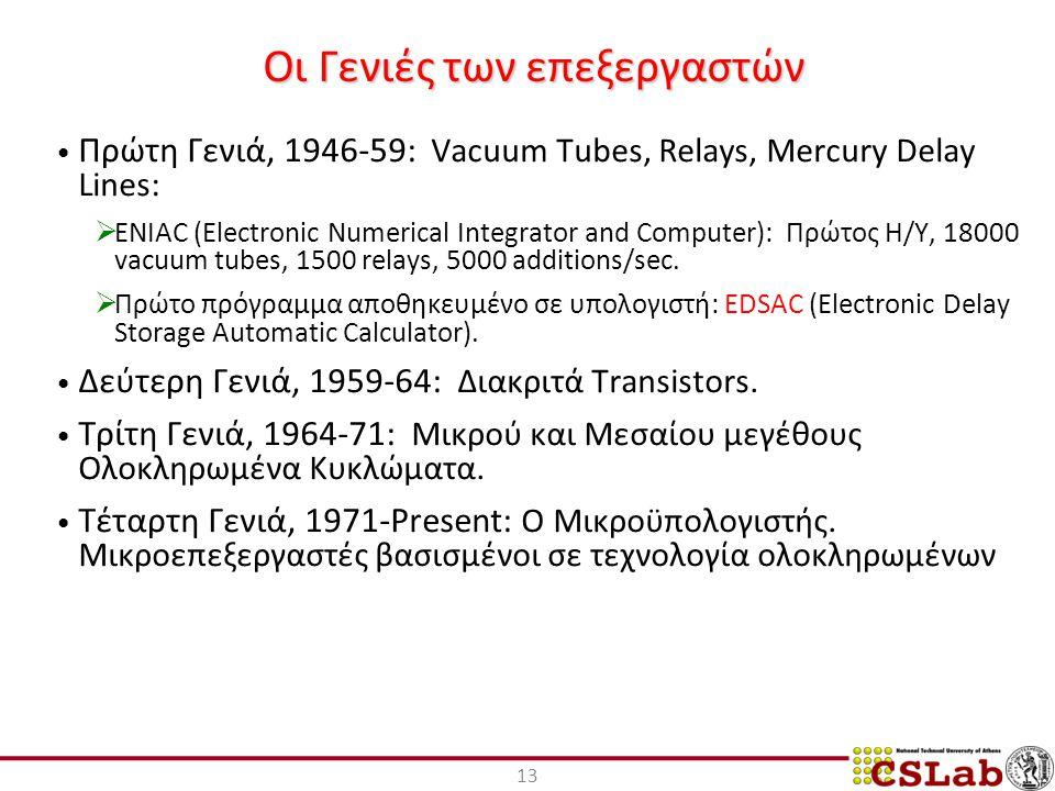 13 Οι Γενιές των επεξεργαστών Πρώτη Γενιά, 1946-59: Vacuum Tubes, Relays, Mercury Delay Lines:  ENIAC (Electronic Numerical Integrator and Computer): Πρώτος Η/Υ, 18000 vacuum tubes, 1500 relays, 5000 additions/sec.