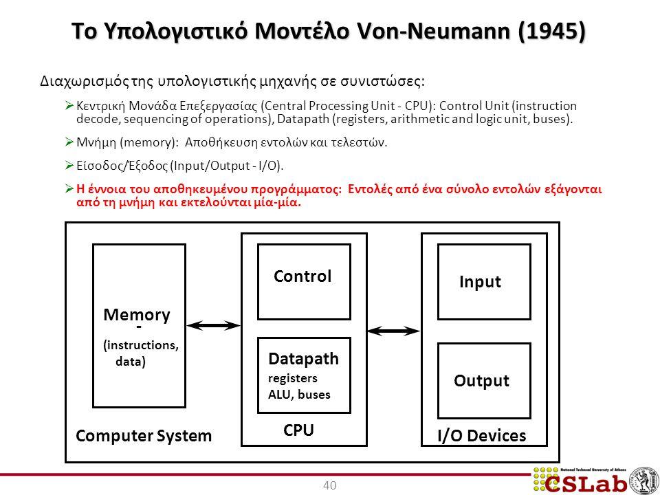 40 Το Υπολογιστικό Μοντέλο Von-Neumann (1945) Διαχωρισμός της υπολογιστικής μηχανής σε συνιστώσες:  Κεντρική Μονάδα Επεξεργασίας (Central Processing Unit - CPU): Control Unit (instruction decode, sequencing of operations), Datapath (registers, arithmetic and logic unit, buses).