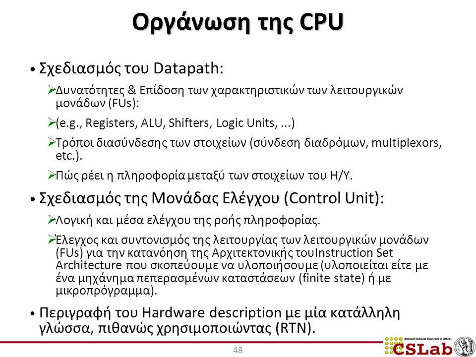 Οργάνωση της CPU Σχεδιασμός του Datapath:  Δυνατότητες & Επίδοση των χαρακτηριστικών των λειτουργικών μονάδων (FUs):  (e.g., Registers, ALU, Shifters, Logic Units,...)  Τρόποι διασύνδεσης των στοιχείων (σύνδεση διαδρόμων, multiplexors, etc.).