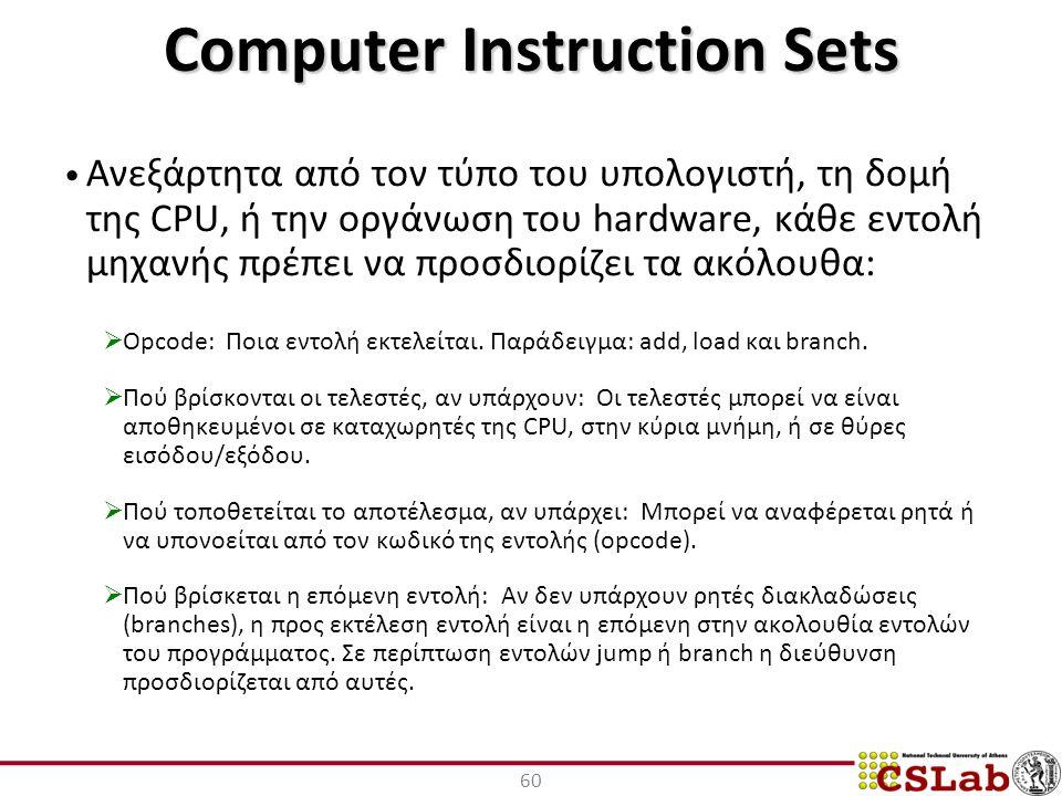Computer Instruction Sets Ανεξάρτητα από τον τύπο του υπολογιστή, τη δομή της CPU, ή την οργάνωση του hardware, κάθε εντολή μηχανής πρέπει να προσδιορίζει τα ακόλουθα:  Opcode: Ποια εντολή εκτελείται.