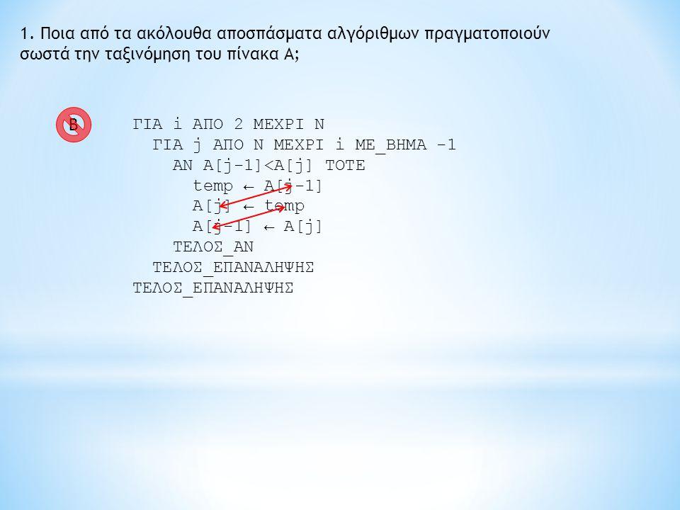 1. Ποια από τα ακόλουθα αποσπάσματα αλγόριθμων πραγματοποιούν σωστά την ταξινόμηση του πίνακα Α; ΓΙΑ i ΑΠΟ 2 ΜΕΧΡΙ Ν ΓΙΑ j ΑΠΟ Ν ΜΕΧΡΙ i ME_BHMA -1 AN