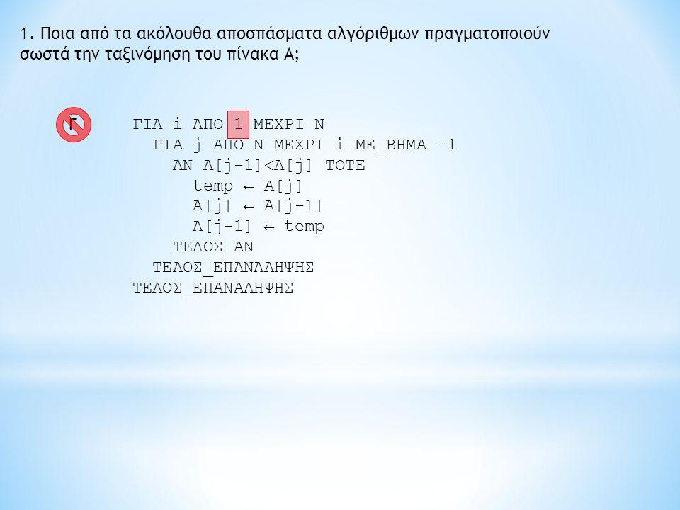 1. Ποια από τα ακόλουθα αποσπάσματα αλγόριθμων πραγματοποιούν σωστά την ταξινόμηση του πίνακα Α; ΓΙΑ i ΑΠΟ 1 ΜΕΧΡΙ Ν ΓΙΑ j ΑΠΟ Ν ΜΕΧΡΙ i ME_BHMA -1 AN