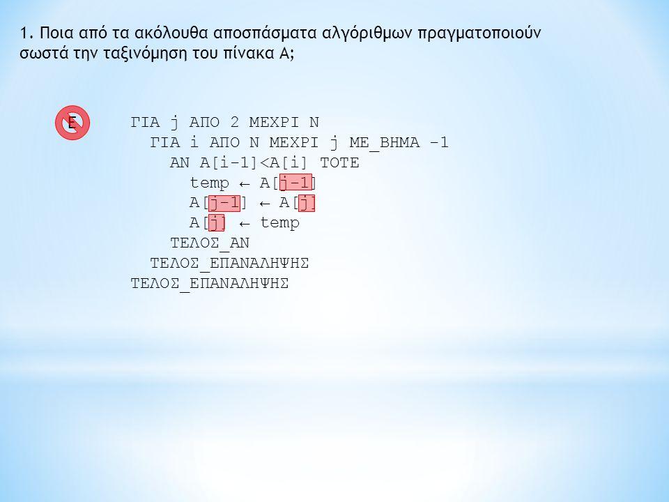 1. Ποια από τα ακόλουθα αποσπάσματα αλγόριθμων πραγματοποιούν σωστά την ταξινόμηση του πίνακα Α; ΓΙΑ j ΑΠΟ 2 ΜΕΧΡΙ Ν ΓΙΑ i ΑΠΟ Ν ΜΕΧΡΙ j ME_BHMA -1 AN