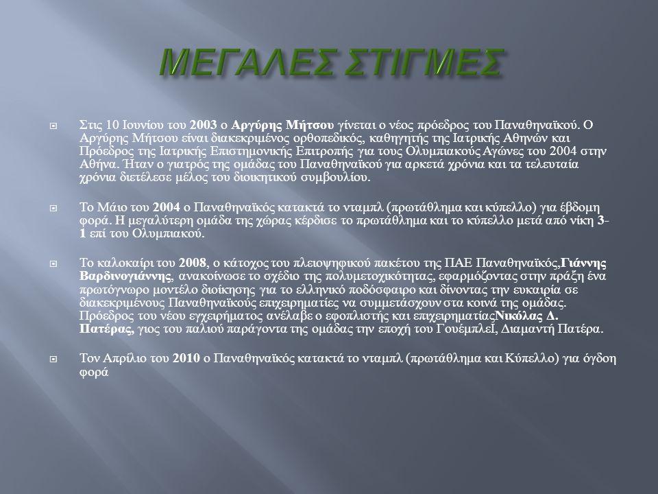  Στις 10 Ιουνίου του 2003 ο Αργύρης Μήτσου γίνεται ο νέος πρόεδρος του Παναθηναϊκού. Ο Αργύρης Μήτσου είναι διακεκριμένος ορθοπεδικός, καθηγητής της