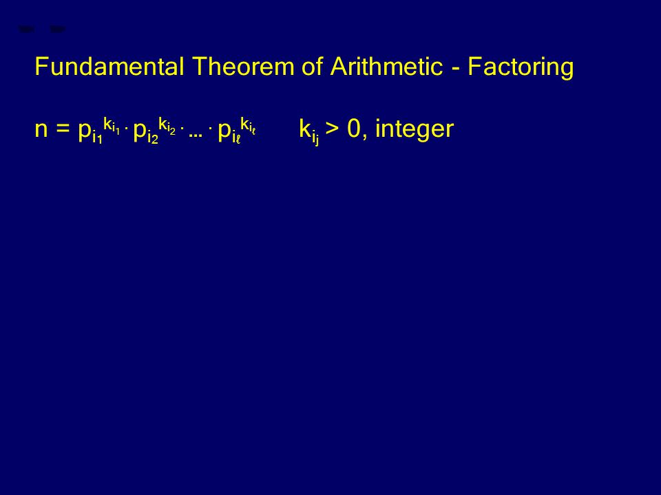 Fundamental Theorem of Arithmetic - Factoring n = p i 1 k i 1.
