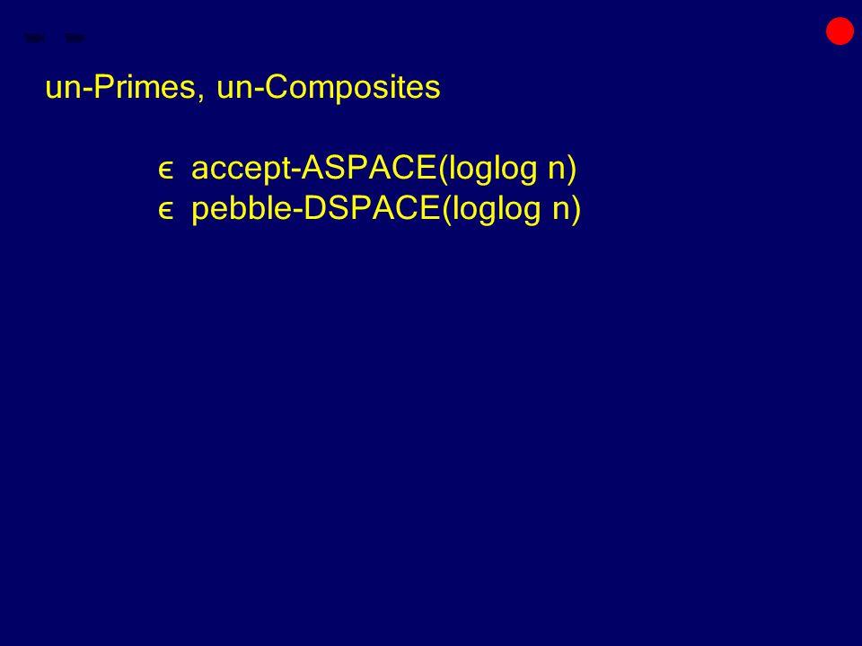 un-Primes, un-Composites ϵ accept-ASPACE(loglog n) ϵ pebble-DSPACE(loglog n)