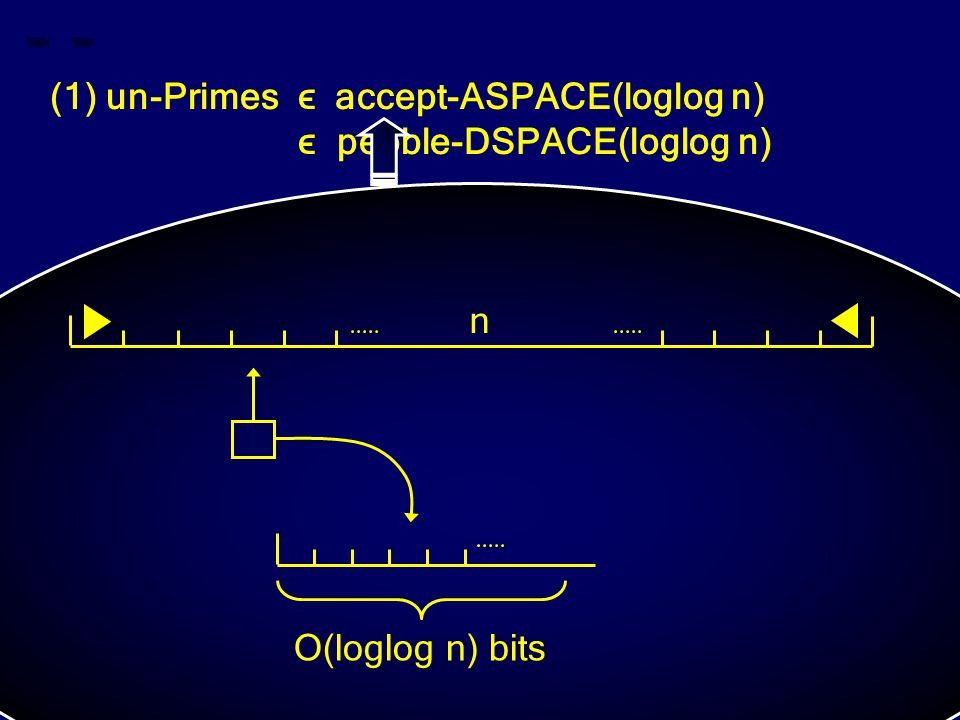 (1) un-Primes ϵ accept-ASPACE(loglog n) ϵ pebble-DSPACE(loglog n) n O(loglog n) bits