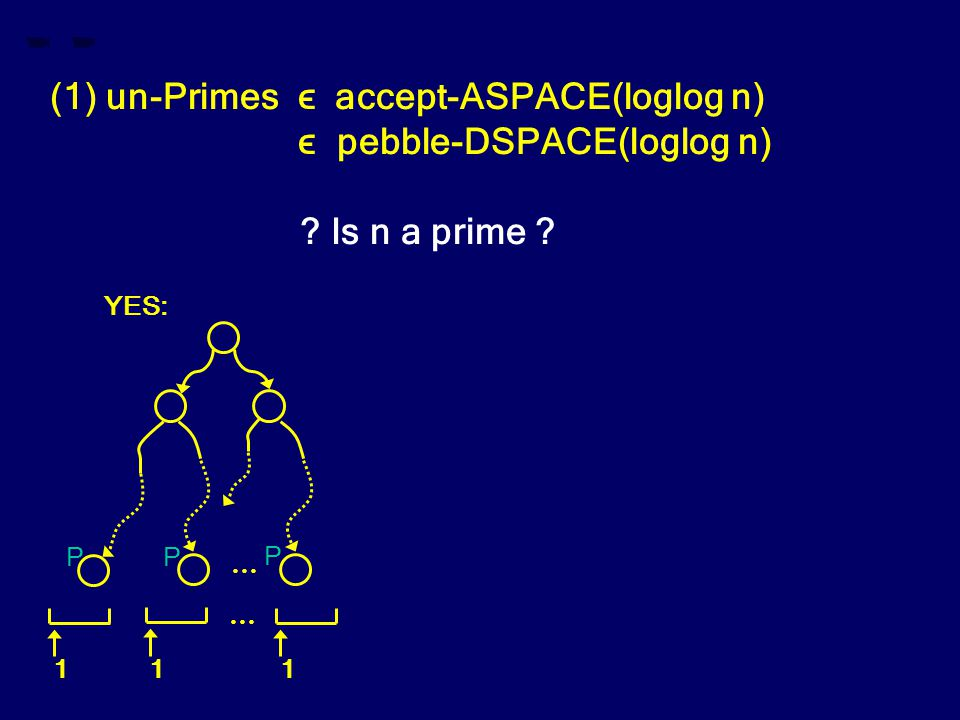 (1) un-Primes ϵ accept-ASPACE(loglog n) ϵ pebble-DSPACE(loglog n) ? Is n a prime ? … 1 1 1 … YES: P PP