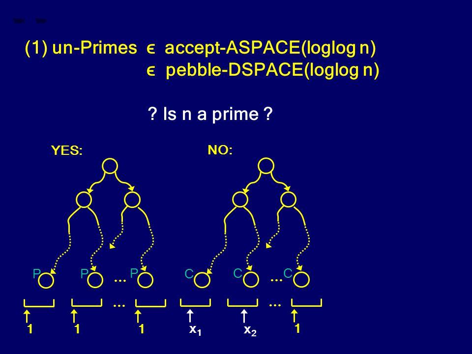 (1) un-Primes ϵ accept-ASPACE(loglog n) ϵ pebble-DSPACE(loglog n) ? Is n a prime ? … 1 1 1 … YES: … x1x1 1 … NO: x2x2 CC C P PP