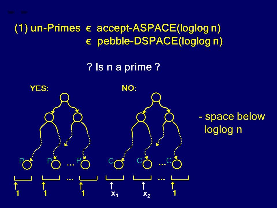 (1) un-Primes ϵ accept-ASPACE(loglog n) ϵ pebble-DSPACE(loglog n) ? Is n a prime ? … 1 1 1 … YES: … x1x1 1 … NO: x2x2 - space below loglog n CC C P PP