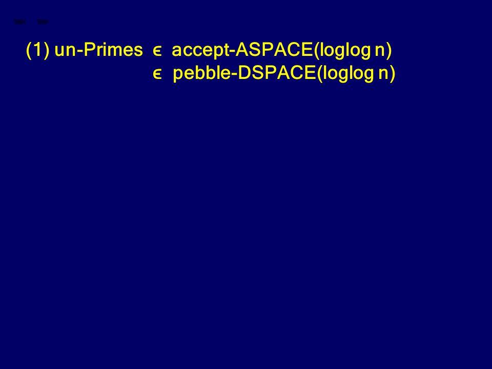 (1) un-Primes ϵ accept-ASPACE(loglog n) ϵ pebble-DSPACE(loglog n)