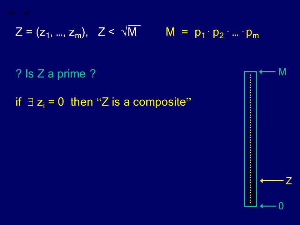 "__ Z = (z 1, …, z m ), Z < √MM = p 1. p 2. …. p m ? Is Z a prime ? if  z i = 0 then "" Z is a composite "" M 0 Z"