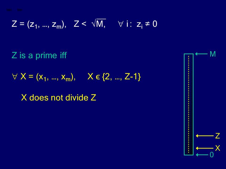 __ Z = (z 1, …, z m ), Z < √M,  i : z i ≠ 0 Z is a prime iff  X = (x 1, …, x m ), X ϵ {2, …, Z-1} X does not divide Z M 0 Z X