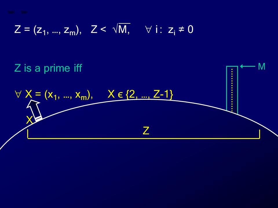 M 0 Z X __ Z = (z 1, …, z m ), Z < √M,  i : z i ≠ 0 Z is a prime iff  X = (x 1, …, x m ), X ϵ {2, …, Z-1} X does not divide Z Z