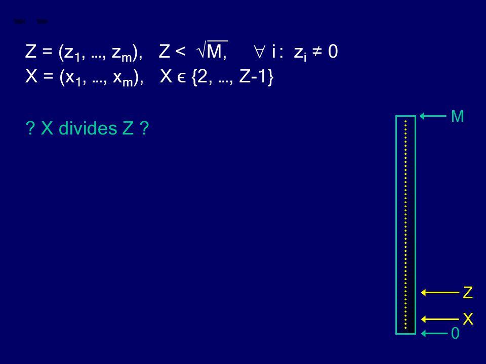 __ Z = (z 1, …, z m ), Z < √M,  i : z i ≠ 0 X = (x 1, …, x m ), X ϵ {2, …, Z-1} ? X divides Z ? M 0 Z X
