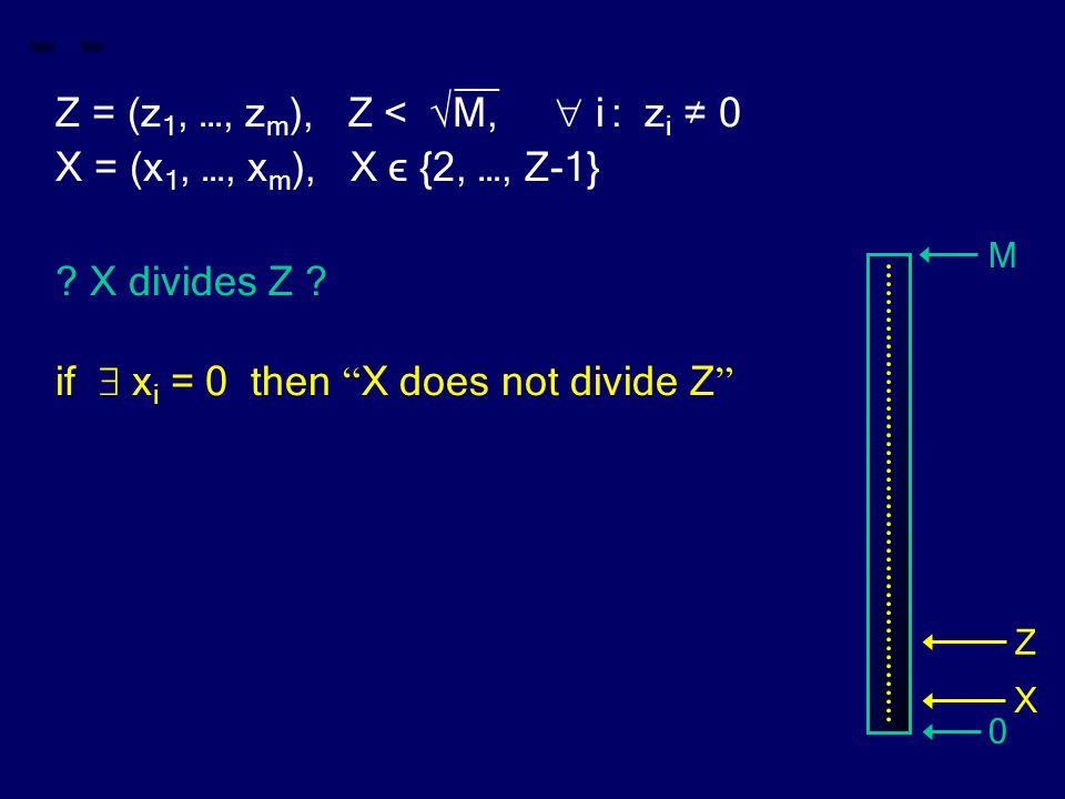 "__ Z = (z 1, …, z m ), Z < √M,  i : z i ≠ 0 X = (x 1, …, x m ), X ϵ {2, …, Z-1} ? X divides Z ? if  x i = 0 then "" X does not divide Z "" M 0 Z X"