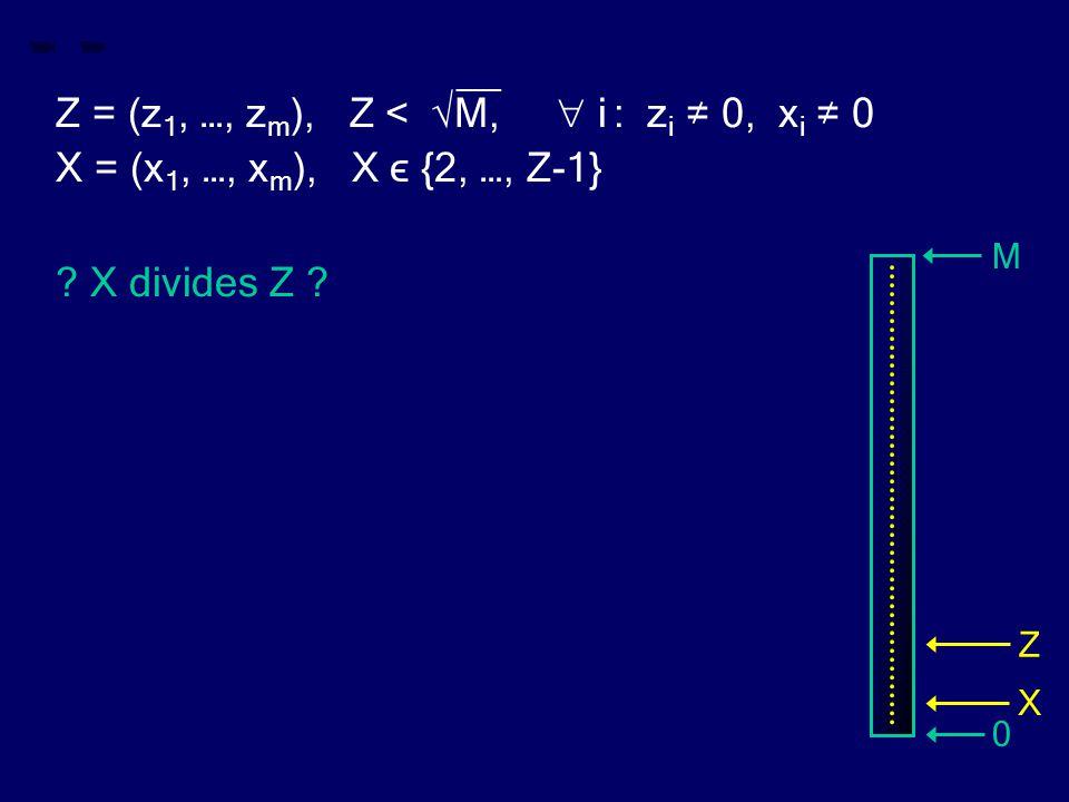 __ Z = (z 1, …, z m ), Z < √M,  i : z i ≠ 0, x i ≠ 0 X = (x 1, …, x m ), X ϵ {2, …, Z-1} ? X divides Z ? M 0 Z X