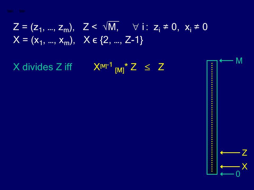 __ Z = (z 1, …, z m ), Z < √M,  i : z i ≠ 0, x i ≠ 0 X = (x 1, …, x m ), X ϵ {2, …, Z-1} X divides Z iff X [M] -1 [M] * Z  Z M 0 Z X