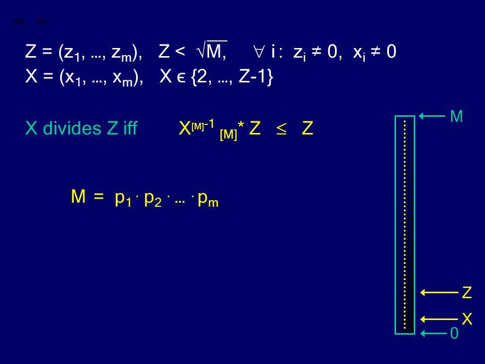 __ Z = (z 1, …, z m ), Z < √M,  i : z i ≠ 0, x i ≠ 0 X = (x 1, …, x m ), X ϵ {2, …, Z-1} X divides Z iff X [M] -1 [M] * Z  Z M= p 1. p 2. …. p m M 0