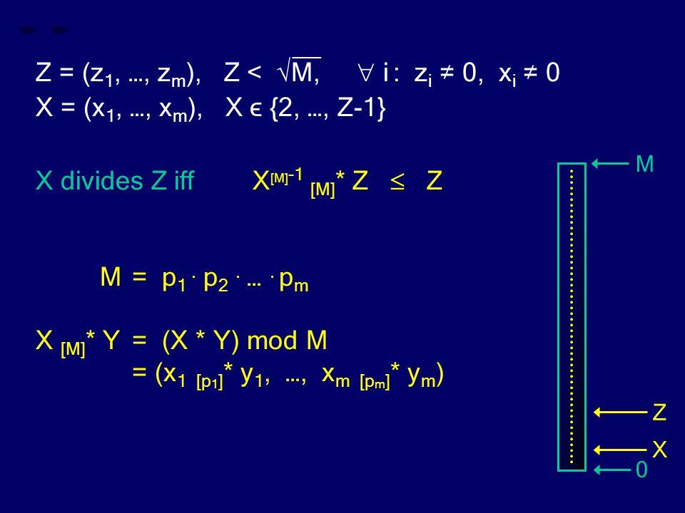 __ Z = (z 1, …, z m ), Z < √M,  i : z i ≠ 0, x i ≠ 0 X = (x 1, …, x m ), X ϵ {2, …, Z-1} X divides Z iff X [M] -1 [M] * Z  Z M= p 1.