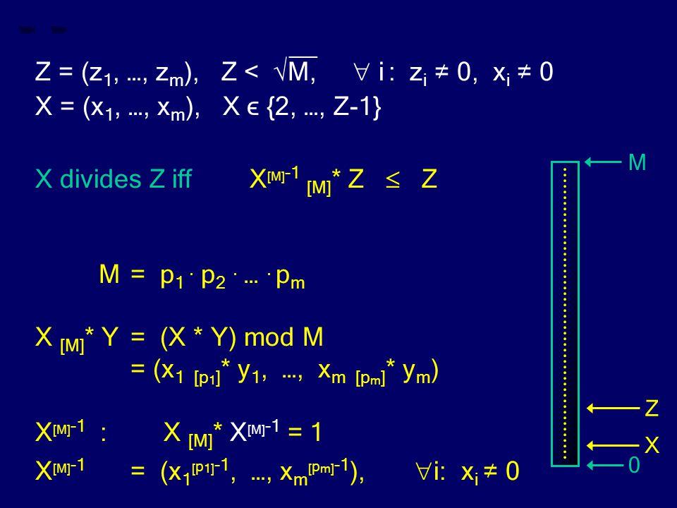 __ Z = (z 1, …, z m ), Z < √M,  i : z i ≠ 0, x i ≠ 0 X = (x 1, …, x m ), X ϵ {2, …, Z-1} X divides Z iff X [M] -1 [M] * Z  Z M= p 1. p 2. …. p m X [