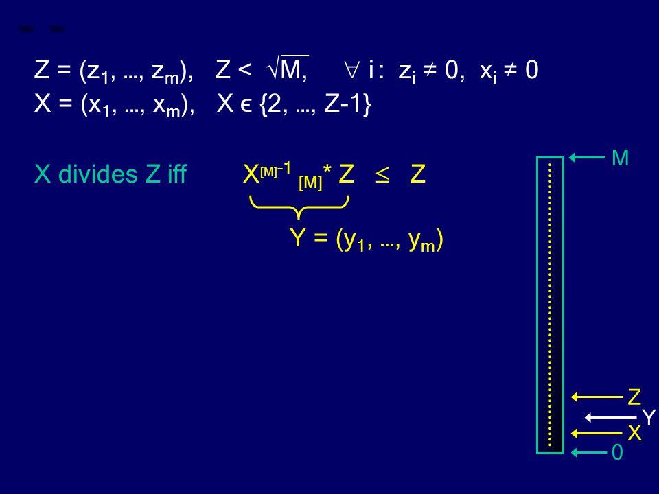 __ Z = (z 1, …, z m ), Z < √M,  i : z i ≠ 0, x i ≠ 0 X = (x 1, …, x m ), X ϵ {2, …, Z-1} X divides Z iff X [M] -1 [M] * Z  Z Y = (y 1, …, y m ) M 0
