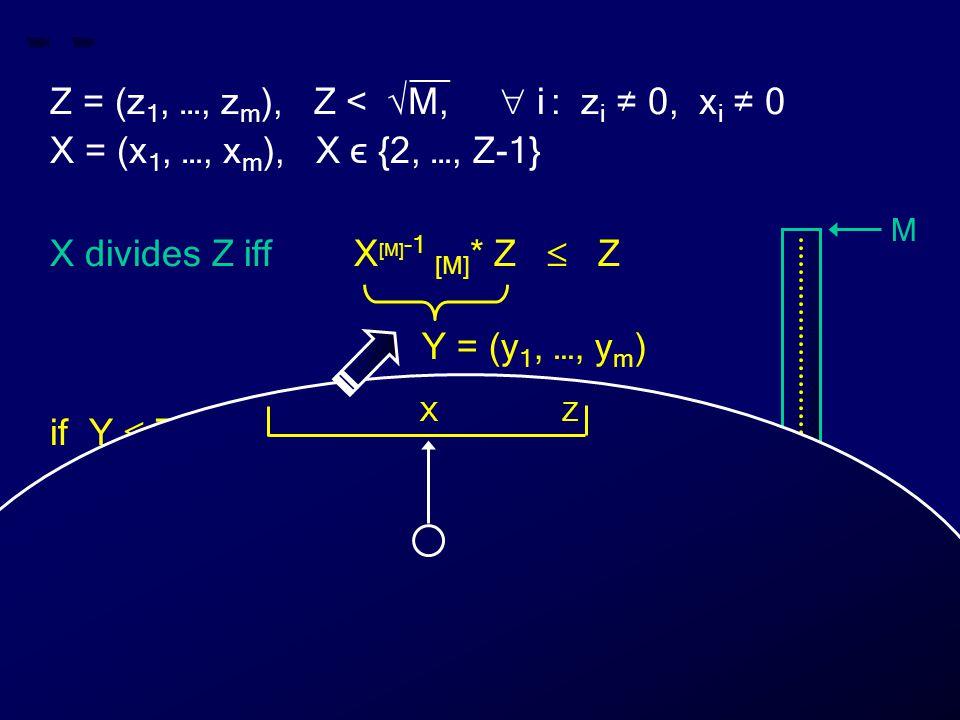 __ Z = (z 1, …, z m ), Z < √M,  i : z i ≠ 0, x i ≠ 0 X = (x 1, …, x m ), X ϵ {2, …, Z-1} X divides Z iff X [M] -1 [M] * Z  Z if Y  Z then X divides Z else X does not divide Z Y = (y 1, …, y m ) M 0 Z X Y Z X
