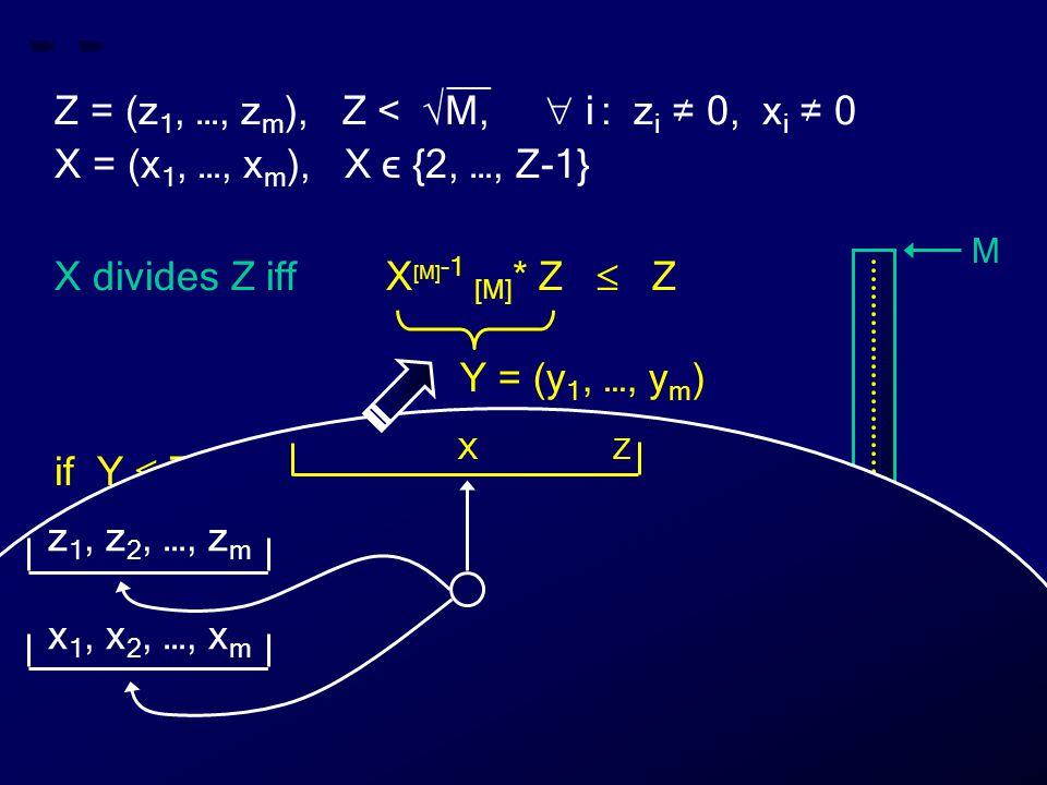 __ Z = (z 1, …, z m ), Z < √M,  i : z i ≠ 0, x i ≠ 0 X = (x 1, …, x m ), X ϵ {2, …, Z-1} X divides Z iff X [M] -1 [M] * Z  Z if Y  Z then X divides Z else X does not divide Z Y = (y 1, …, y m ) M 0 Z X Y Z X z 1, z 2, …, z m x 1, x 2, …, x m