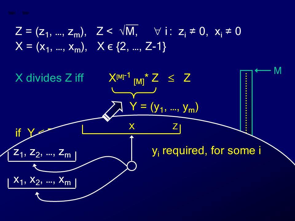 __ Z = (z 1, …, z m ), Z < √M,  i : z i ≠ 0, x i ≠ 0 X = (x 1, …, x m ), X ϵ {2, …, Z-1} X divides Z iff X [M] -1 [M] * Z  Z if Y  Z then X divides Z else X does not divide Z Y = (y 1, …, y m ) M 0 Z X Y Z X y i required, for some i z 1, z 2, …, z m x 1, x 2, …, x m