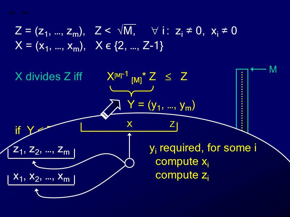 __ Z = (z 1, …, z m ), Z < √M,  i : z i ≠ 0, x i ≠ 0 X = (x 1, …, x m ), X ϵ {2, …, Z-1} X divides Z iff X [M] -1 [M] * Z  Z if Y  Z then X divides Z else X does not divide Z Y = (y 1, …, y m ) M 0 Z X Y Z X y i required, for some i compute x i compute z i z 1, z 2, …, z m x 1, x 2, …, x m