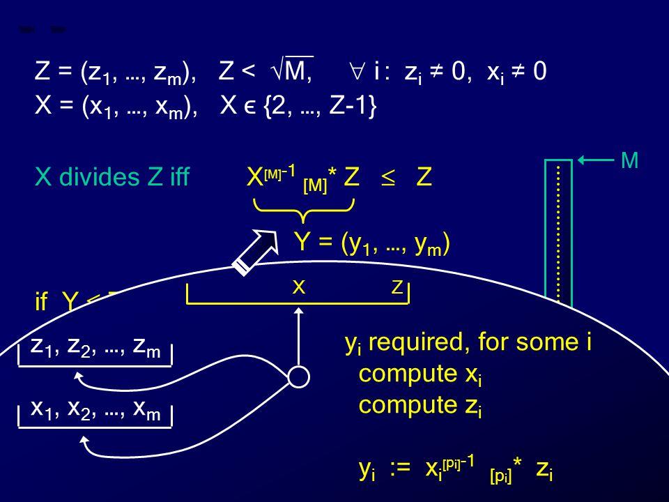 __ Z = (z 1, …, z m ), Z < √M,  i : z i ≠ 0, x i ≠ 0 X = (x 1, …, x m ), X ϵ {2, …, Z-1} X divides Z iff X [M] -1 [M] * Z  Z if Y  Z then X divides Z else X does not divide Z Y = (y 1, …, y m ) M 0 Z X Y Z X y i required, for some i compute x i compute z i y i := x i [ p i] -1 [p i ] * z i z 1, z 2, …, z m x 1, x 2, …, x m