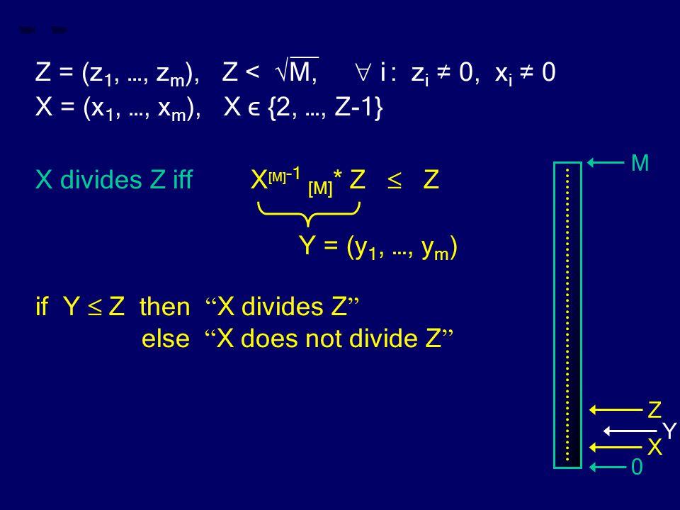 __ Z = (z 1, …, z m ), Z < √M,  i : z i ≠ 0, x i ≠ 0 X = (x 1, …, x m ), X ϵ {2, …, Z-1} X divides Z iff X [M] -1 [M] * Z  Z if Y  Z then X divides Z else X does not divide Z Y = (y 1, …, y m ) M 0 Z X Y