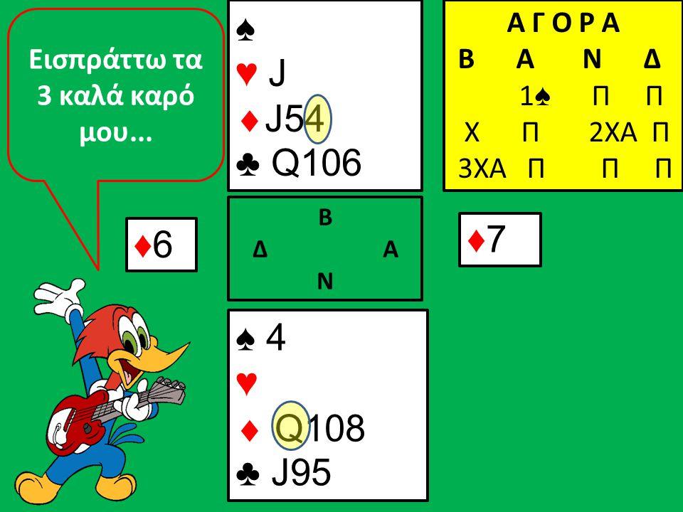 ♦6♦6 ♠ 4 ♥  Q108 ♣ J95 Β Δ Α Ν ♠ ♥ J  J54 ♣ Q106 Α Γ Ο Ρ Α B A N Δ 1 ♠ Π Π Χ Π 2ΧΑ Π 3ΧΑ Π Π Π ♦7♦7 Εισπράττω τα 3 καλά καρό μου...