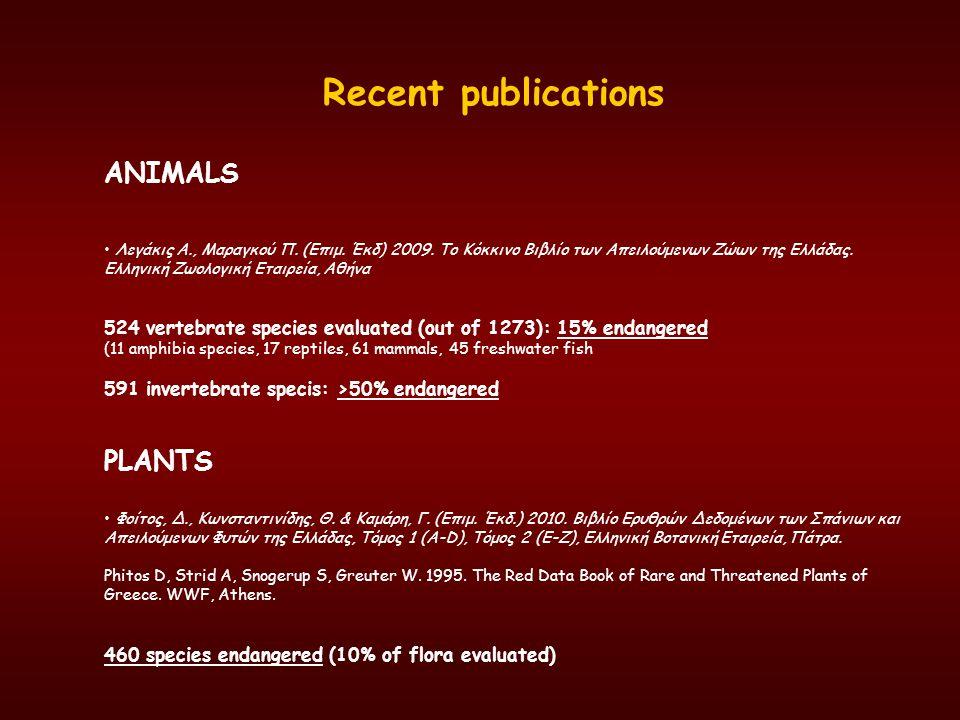 Recent publications ANIMALS Λεγάκις Α., Μαραγκού Π. (Επιμ. Έκδ) 2009. Το Κόκκινο Βιβλίο των Απειλούμενων Ζώων της Ελλάδας. Ελληνική Ζωολογική Εταιρεία