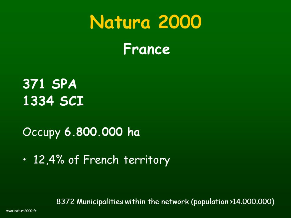 Natura 2000 France 371 SPA 1334 SCI Occupy 6.800.000 ha 12,4% of French territory 8372 Municipalities within the network (population >14.000.000) www.