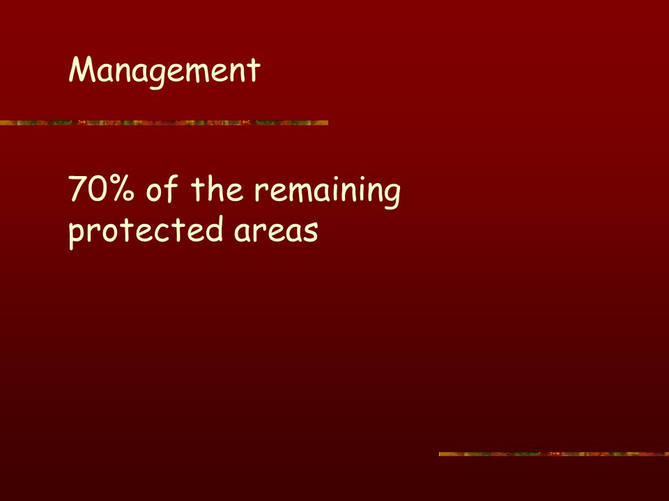 Management 70% of the remaining protected areas