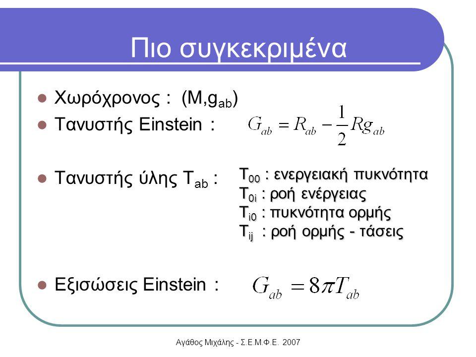 Αγάθος Μιχάλης - Σ.Ε.Μ.Φ.Ε. 2007 Χωρόχρονος : (M,g ab ) Τανυστής Einstein : Τανυστής ύλης Τ ab : Εξισώσεις Einstein : Πιο συγκεκριμένα Τ 00 : ενεργεια