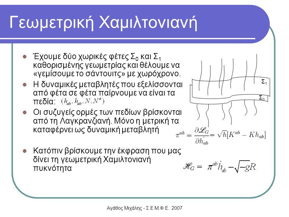 Αγάθος Μιχάλης - Σ.Ε.Μ.Φ.Ε. 2007 Γεωμετρική Χαμιλτονιανή Έχουμε δύο χωρικές φέτες Σ 0 και Σ 1 καθορισμένης γεωμετρίας και θέλουμε να «γεμίσουμε το σάν