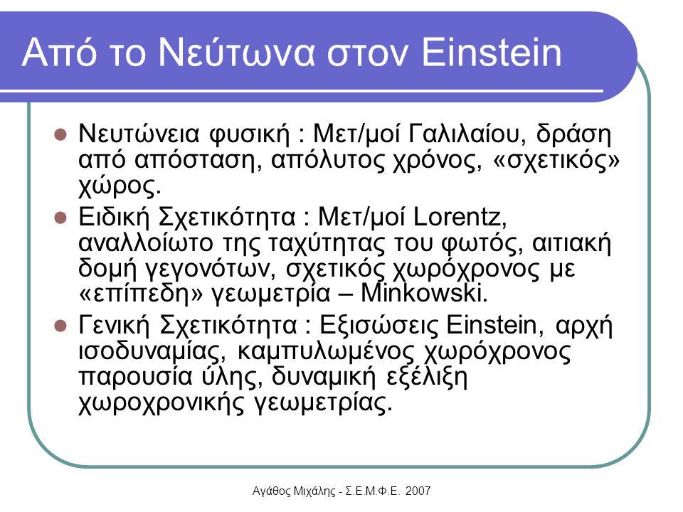 Αγάθος Μιχάλης - Σ.Ε.Μ.Φ.Ε. 2007 Από το Νεύτωνα στον Einstein Νευτώνεια φυσική : Μετ/μοί Γαλιλαίου, δράση από απόσταση, απόλυτος χρόνος, «σχετικός» χώ