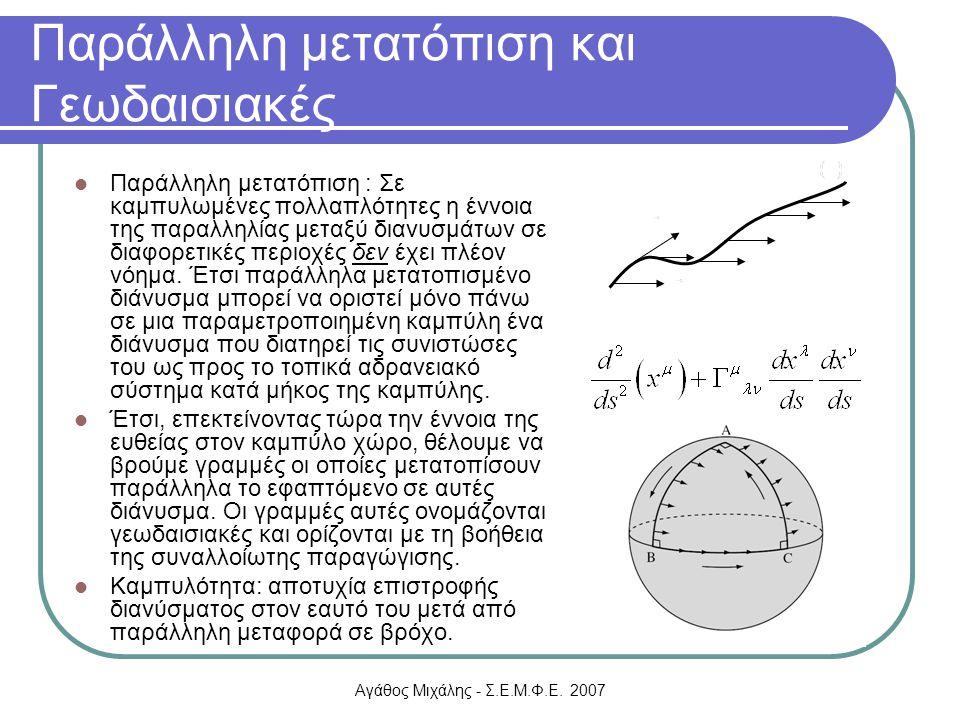 Αγάθος Μιχάλης - Σ.Ε.Μ.Φ.Ε. 2007 Παράλληλη μετατόπιση και Γεωδαισιακές Παράλληλη μετατόπιση : Σε καμπυλωμένες πολλαπλότητες η έννοια της παραλληλίας μ
