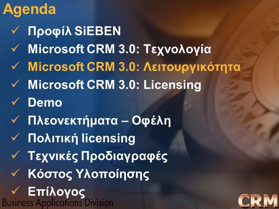 Microsoft Confidential 11 WWSMM 2000 Agenda Προφίλ SiEBEN Microsoft CRM 3.0: Τεχνολογία Microsoft CRM 3.0: Λειτουργικότητα Microsoft CRM 3.0: Licensin