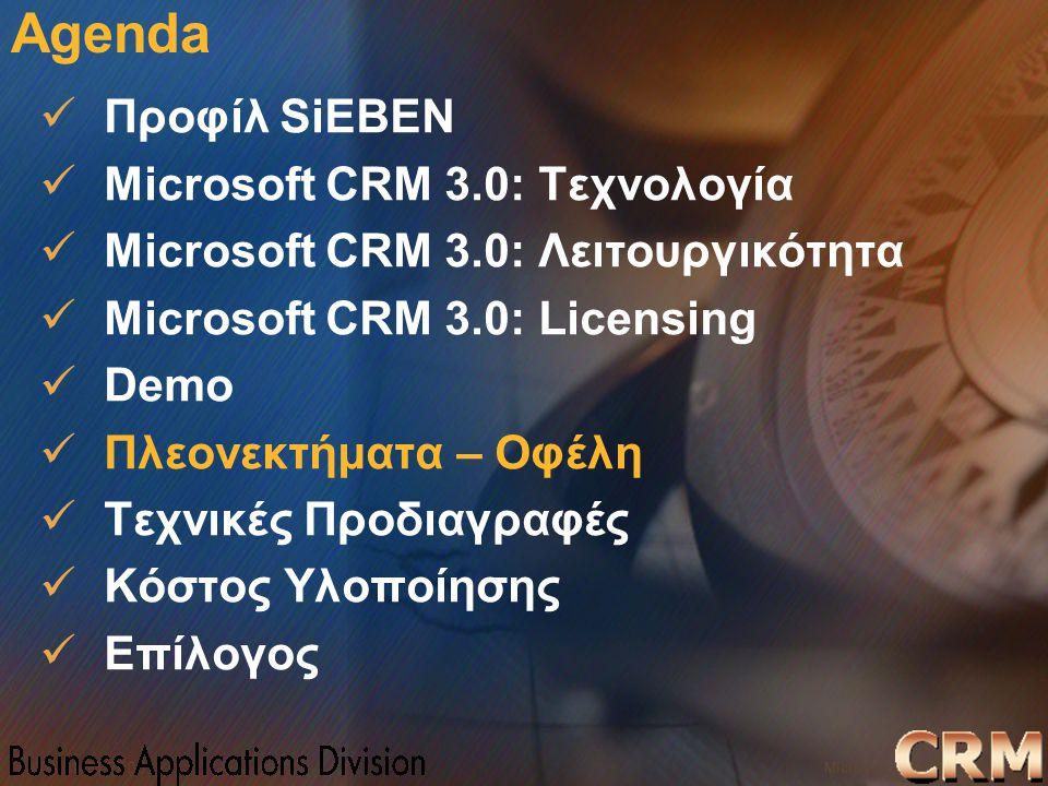 Microsoft Confidential 23 WWSMM 2000 Agenda Προφίλ SiEBEN Microsoft CRM 3.0: Τεχνολογία Microsoft CRM 3.0: Λειτουργικότητα Microsoft CRM 3.0: Licensin