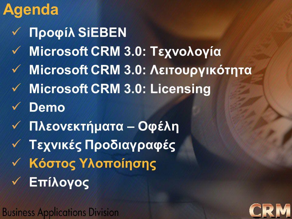 Microsoft Confidential 32 WWSMM 2000 Agenda Προφίλ SiEBEN Microsoft CRM 3.0: Τεχνολογία Microsoft CRM 3.0: Λειτουργικότητα Microsoft CRM 3.0: Licensin