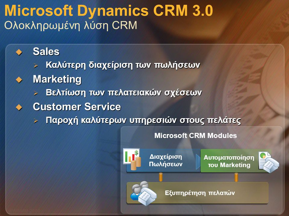 Microsoft Confidential 6 WWSMM 2000 Microsoft Dynamics CRM 3.0 Ολοκληρωμένη λύση CRM  Sales  Καλύτερη διαχείριση των πωλήσεων  Marketing  Βελτίωση