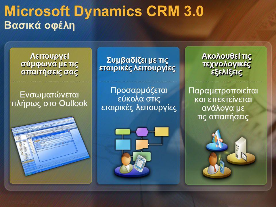 Microsoft Confidential 7 WWSMM 2000 Microsoft Dynamics CRM 3.0 Βασικά οφέλη Ενσωματώνεται πλήρως στο Outlook Λειτουργεί σύμφωνα με τις απαιτήσεις σας