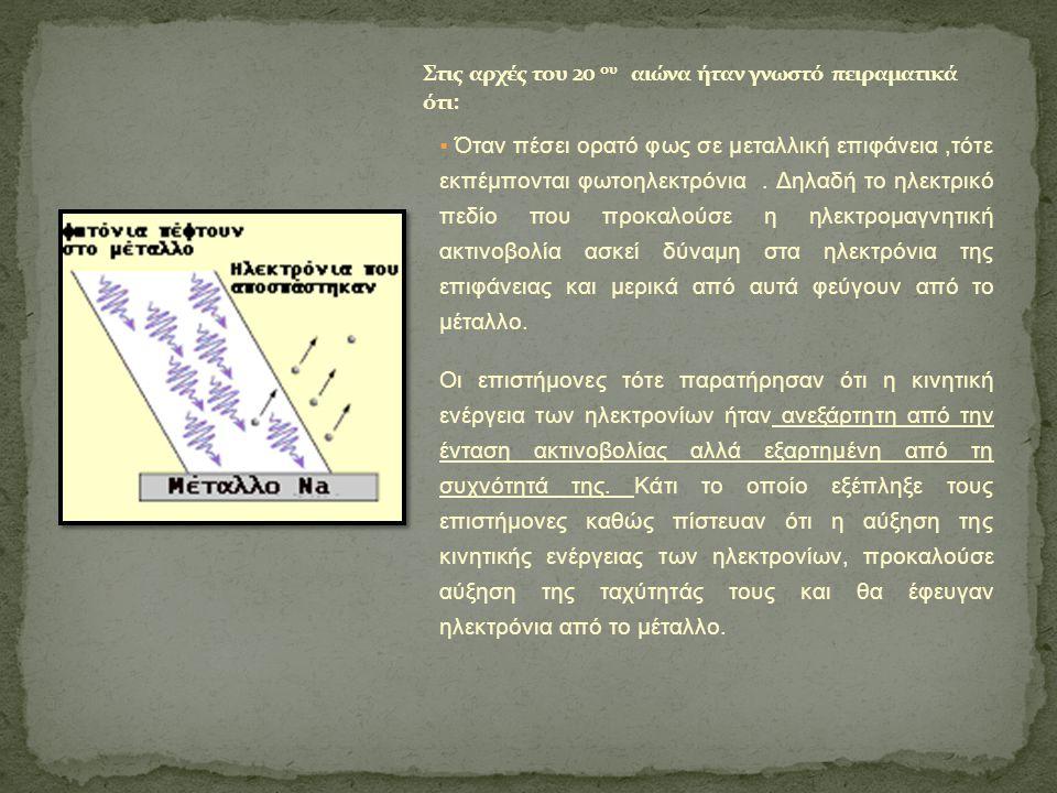  Όταν πέσει ορατό φως σε μεταλλική επιφάνεια,τότε εκπέμπονται φωτοηλεκτρόνια. Δηλαδή το ηλεκτρικό πεδίο που προκαλούσε η ηλεκτρομαγνητική ακτινοβολία