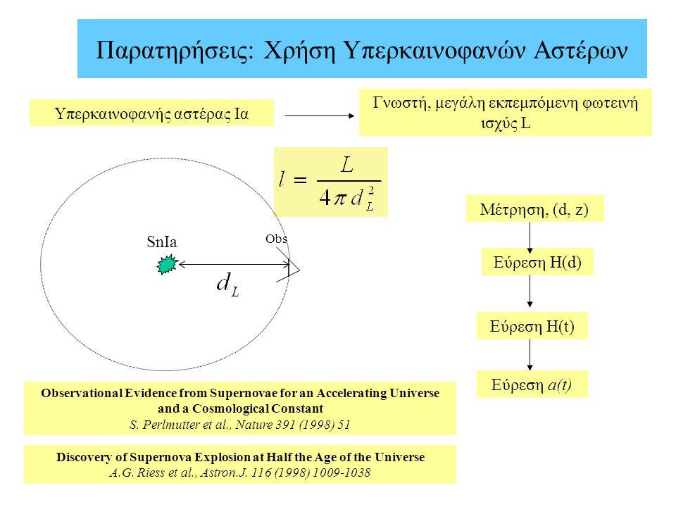 Παρατηρήσεις: Χρήση Υπερκαινοφανών Αστέρων SnIa Obs Υπερκαινοφανής αστέρας Ια Γνωστή, μεγάλη εκπεμπόμενη φωτεινή ισχύς L Μέτρηση, (d, z) Εύρεση Η(d) Ε
