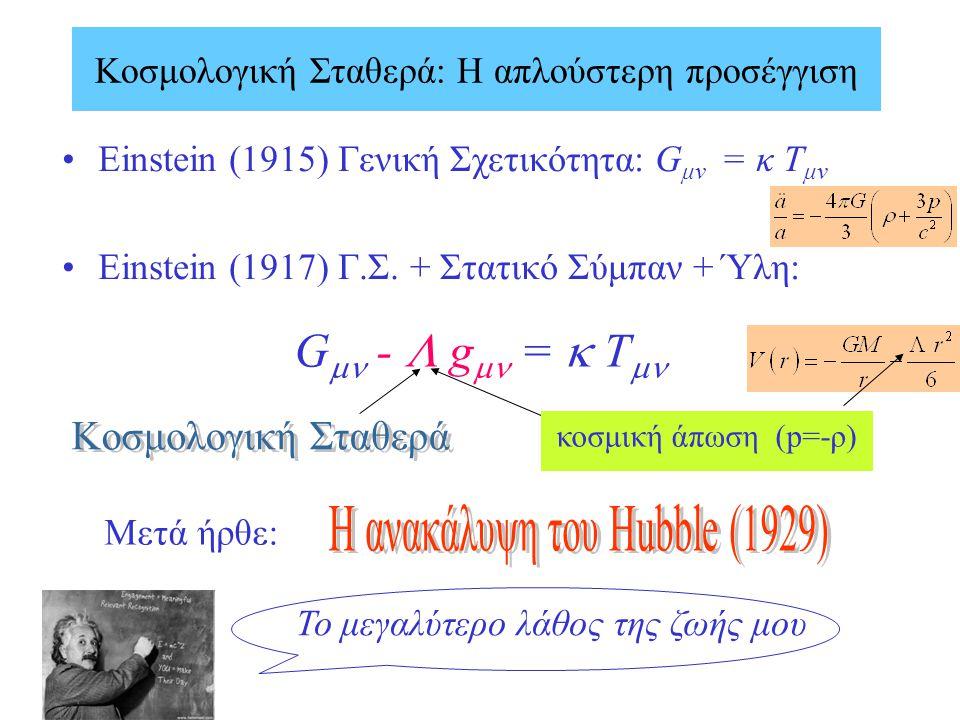 Einstein (1915) Γενική Σχετικότητα: G μν = κ T μν Einstein (1917) Γ.Σ. + Στατικό Σύμπαν + Ύλη: G  -  g  =  T  Το μεγαλύτερο λάθος της ζωής μου Κ